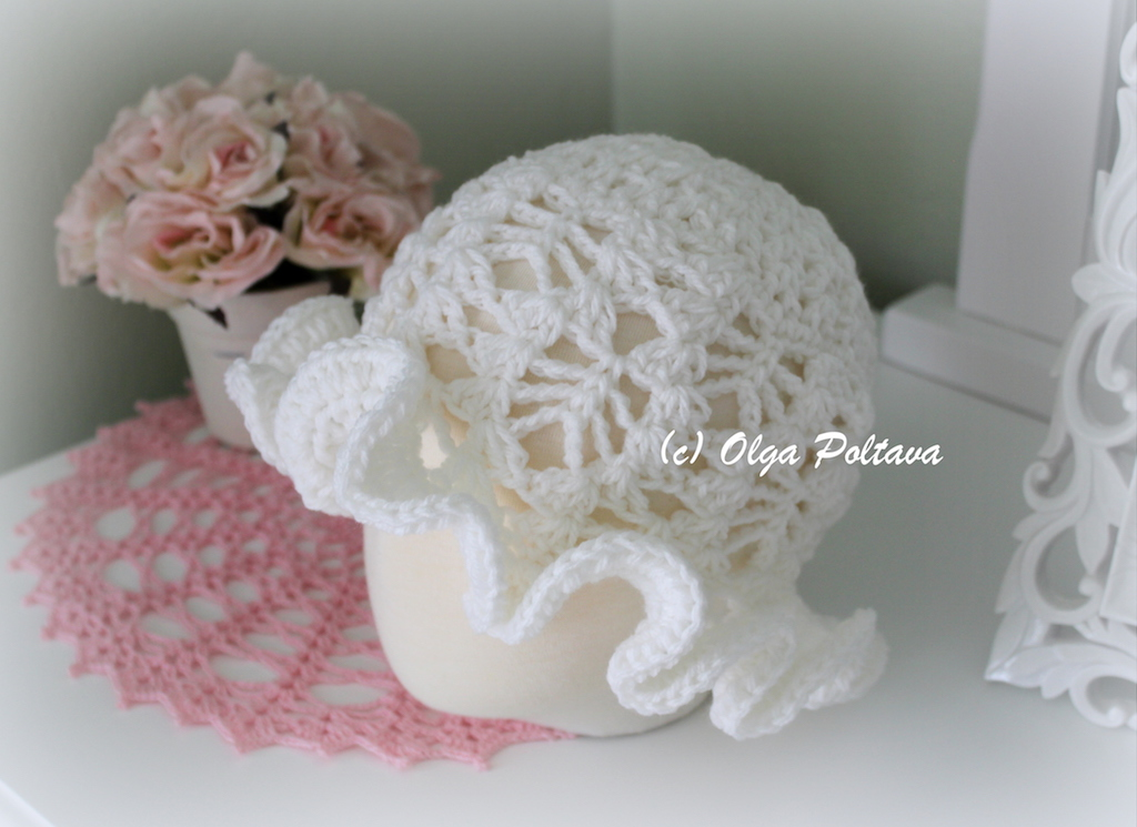 Lacy Crochet Lace Toddler Hat With Ruffled Trim Free Crochet Pattern