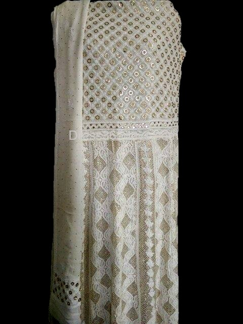 Pure Georgette Lucknowi Chikankari Anarkali With Yoke And Badla Work