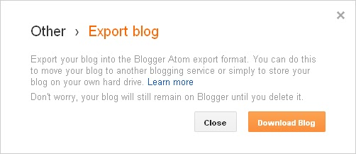 export blogger blog