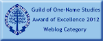 Guild of One-Name Blog Award