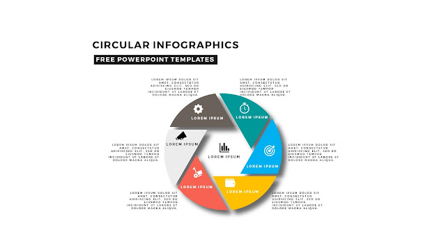 Circular and Shutter Infographics Free PowerPoint Template with icons and 6 steps