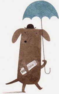 dachshund with umbrella, hat and newspaper illustration by Christine Pym