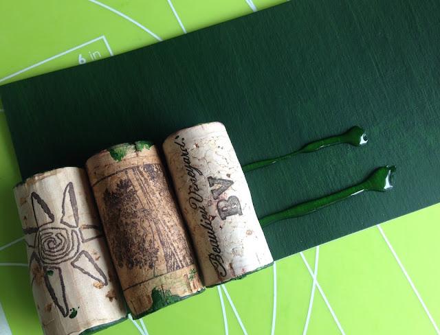 glue wine corks to cardboard