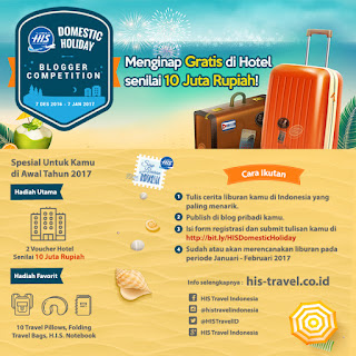Lomba Menulis Blog Hadiah Voucher Hotel - HIS Travel Indonesia