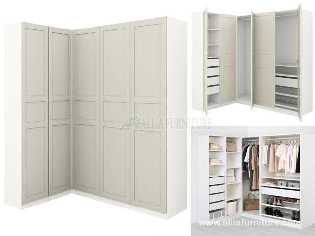 lemari pakaian sudut L 5 pintu