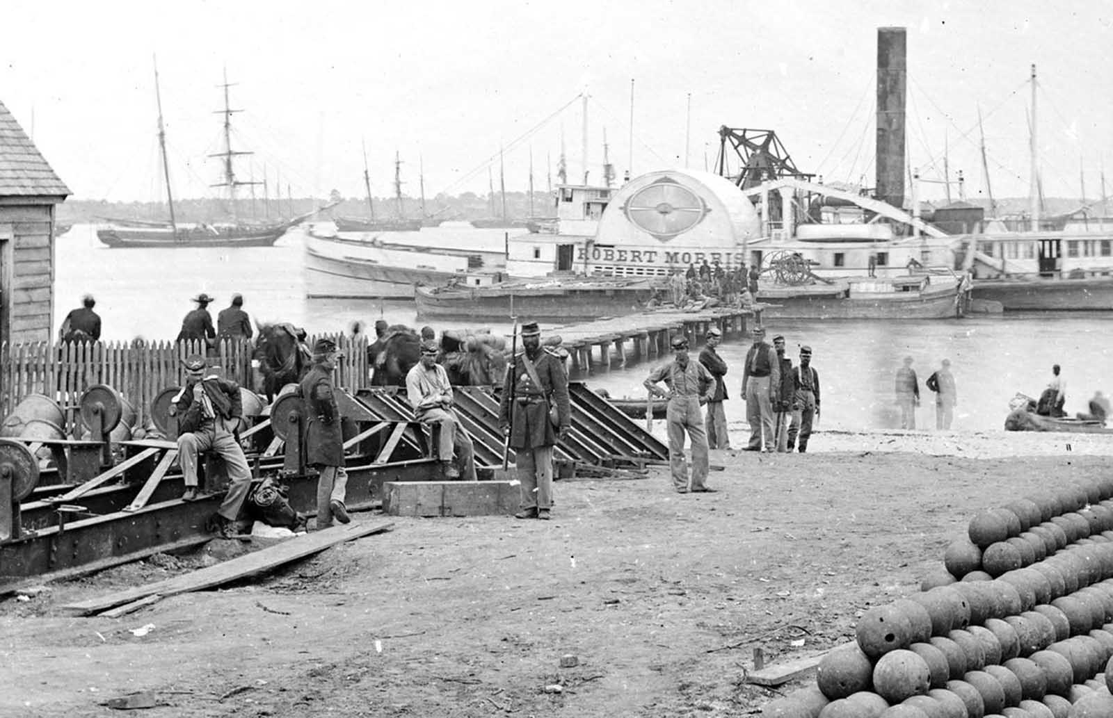 Yorktown, Virginia, Embarkation for White House Landing, Virginia, Photograph from the main eastern theater of war, the Peninsular Campaign, May-August 1862.