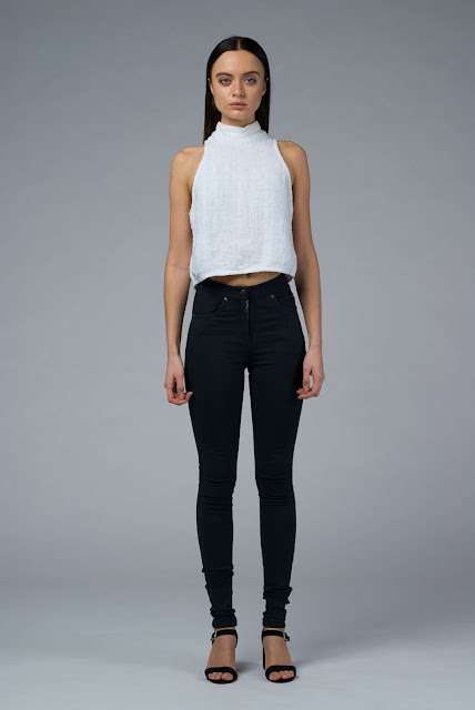 DIONE: Hand Woven Jet White Crop Top