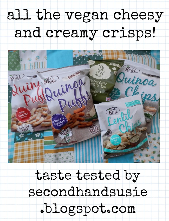 Vegan review - all of the vegaVegan review - all of the vegan cheese and cream flavour crisps!  Eat Real and Ten Acre vegan cheese, cheese and onion and cream flavour crisps reviewed.  By UK vegan blogger secondhandsusie.blogspot.com #vegan #veganblog #vegancrisps #vegancheesen cheese and cream flavour crisps!  Eat Real and Ten Acre vegan cheese, cheese and onion and cream flavour crisps reviewed.  By UK vegan blogger secondhandsusie.blogspot.com #vegan #veganblog #vegancrisps #vegancheese