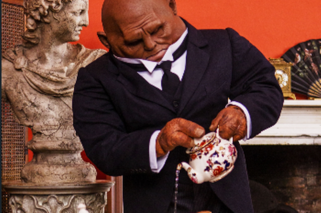Madame Vastra's Sontaran butler Strax serving tea