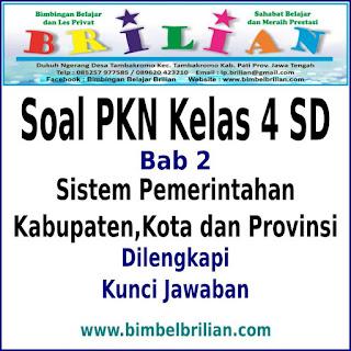 Soal PKN Kelas 4 SD Bab 2 Sistem Pemerintahan Kabupaten, Kota dan Provinsi Dan Kunci Jawaban