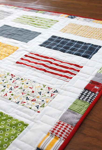 Jolly Bar quilt with Varsity fabrics from Moda