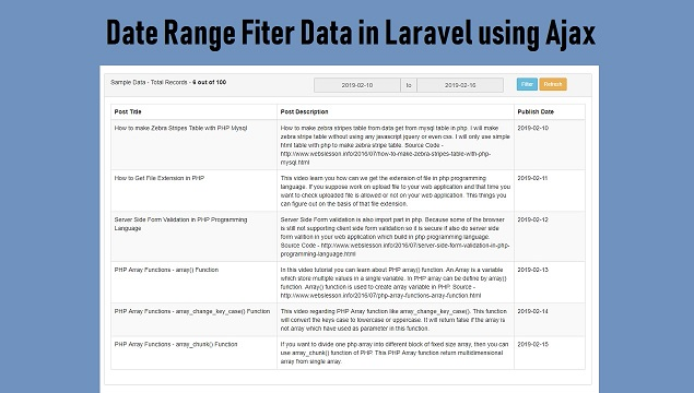 Laravel Date Range Search using Ajax jQuery