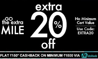 Jabong: Extra 20% Off (No Min.Cart Value) + Extra Rs.150 Cashback on Min.Cart value Rs.1500