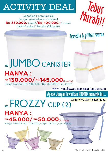 Activity Deal, Tebus Murah, Jumbo Canister, Frozzy Cup