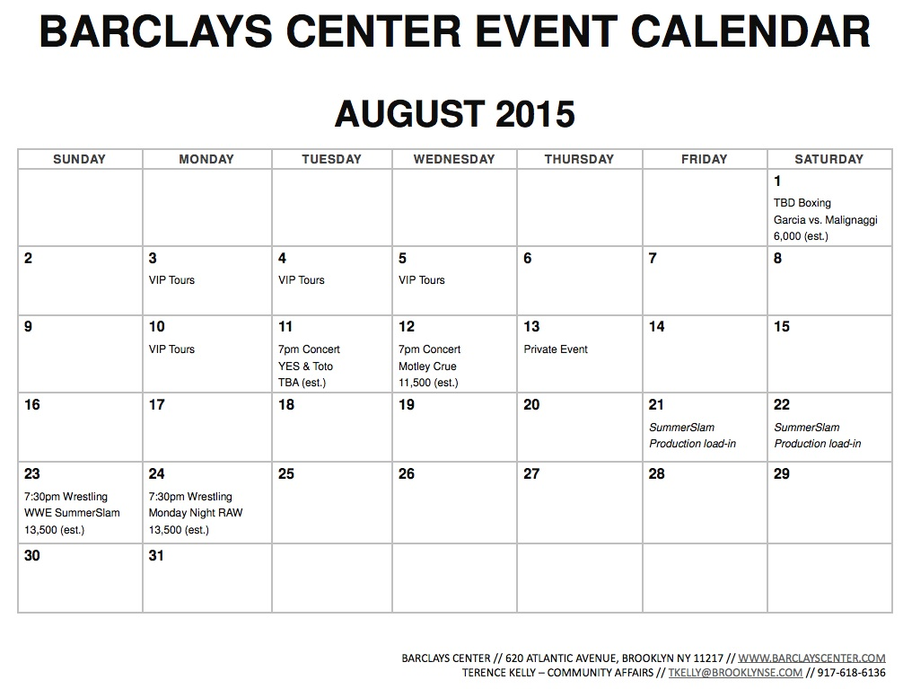 barclays center releases july 2015 event calendar also august and september fairly light