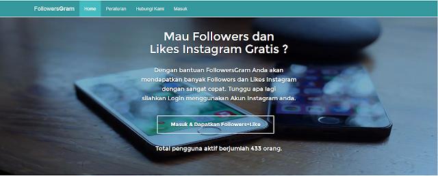 Mendapatkan Followers dan Likes Gratis dari follgram.pro