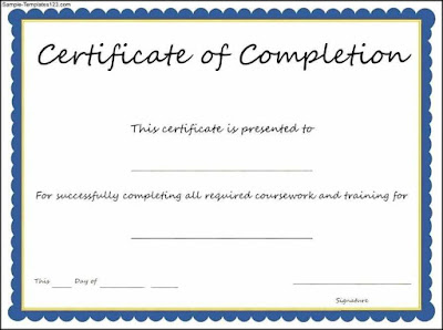 Example Certificate Of Completion Templates Ghaty