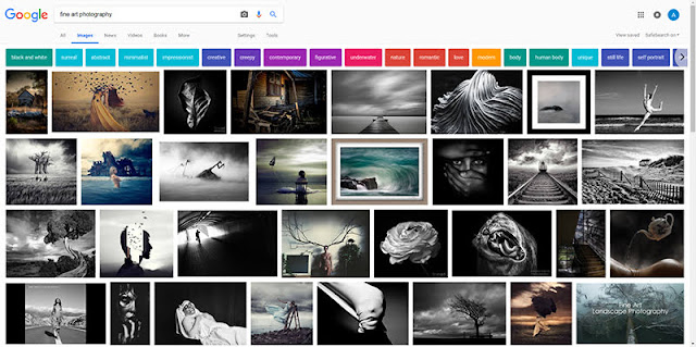 Screenshot of a Google image search for fine art photography