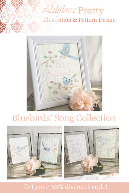 blue bird art print watercolour inspirational quote hand lettered superb fairy wren bird in flight vintage shabby chic floral rose illustration