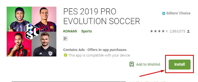 Cara download Game PES 2019 Android