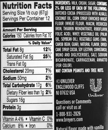 Breyers Chocolate Chip Ice Cream Nutrition Facts