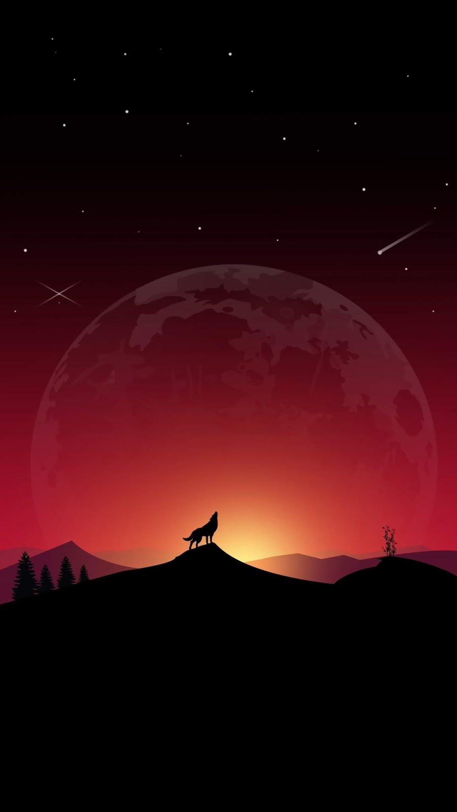 Wolf howling in the night