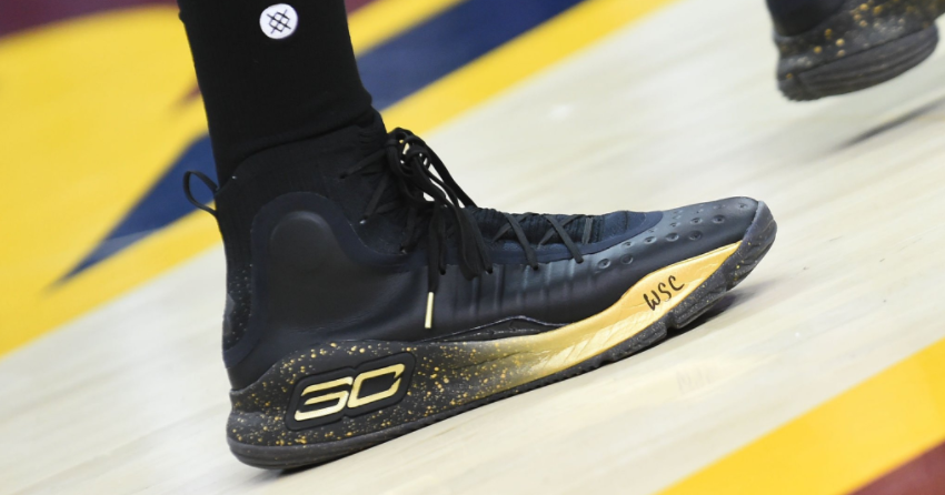 Stephen Curry Wears Black/Gold Under Armour Curry 4 PE for Game 4 of 2017 NBA Finals | FootBasket