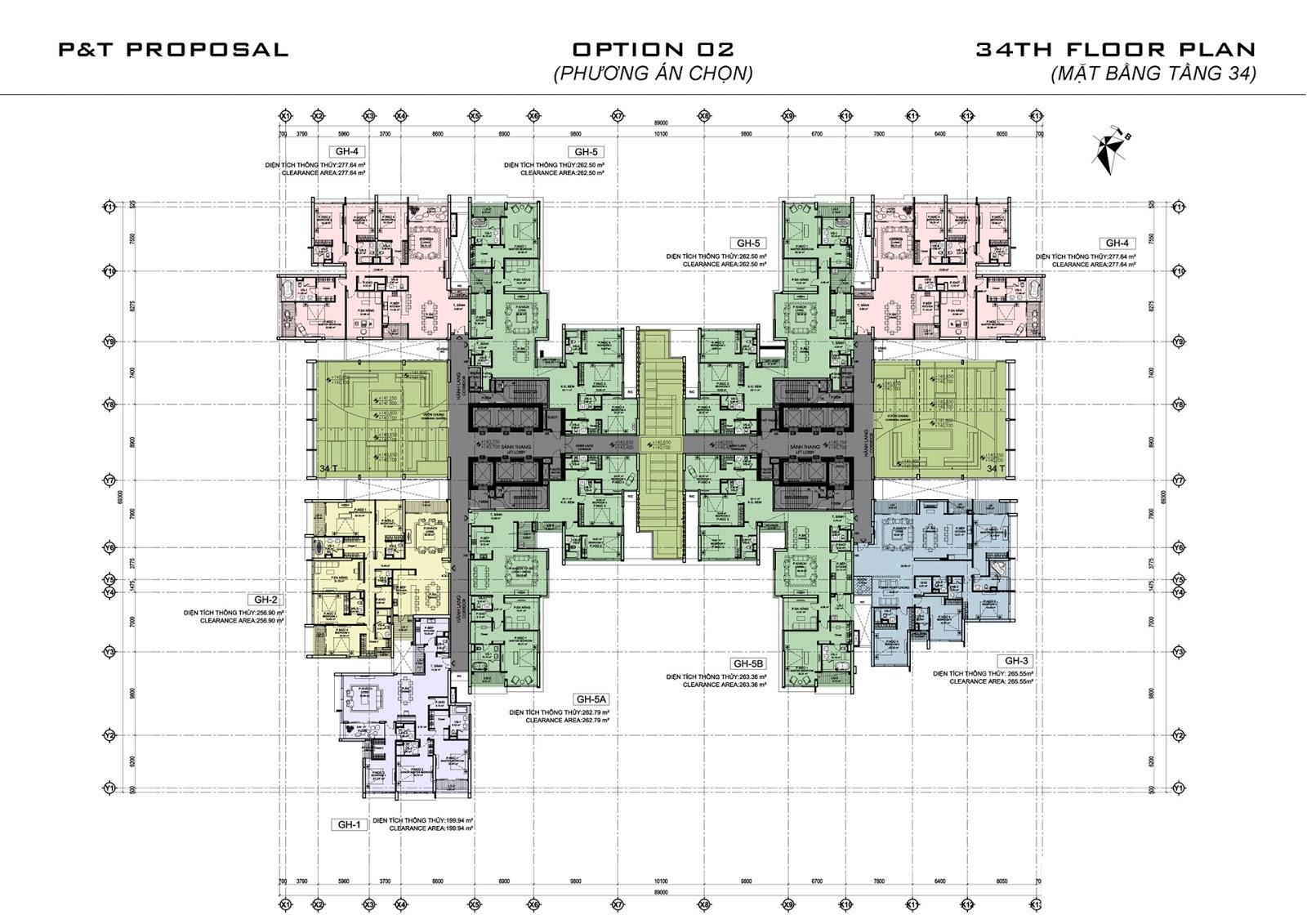 Mặt bàng tầng 34 dự án Oriental Garden