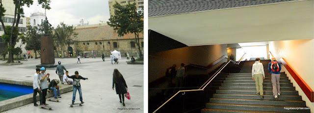 Parque Santander, em Bogotá, e o interior do Museu do Ouro de Bogotá
