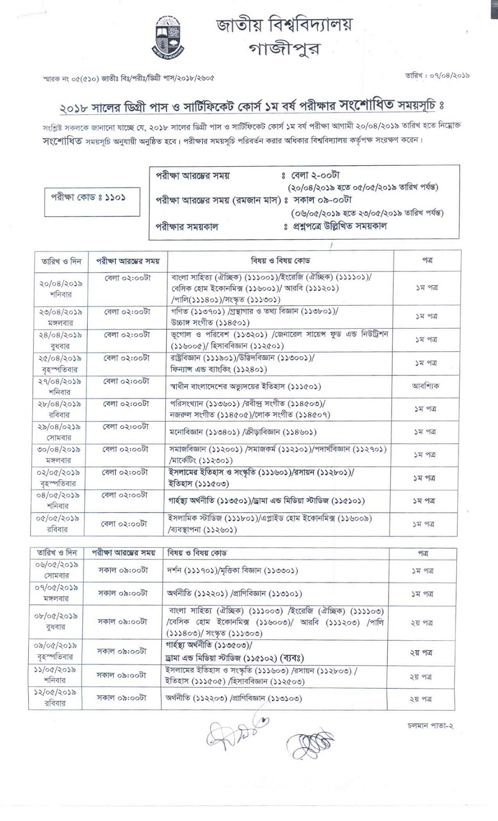 Degree 1st year routine 2019 revised