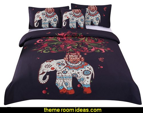 Boho Mandala Hippie Bedding Elephant Tree Black Printed Bohemian Bedspread Duvet Cover Set