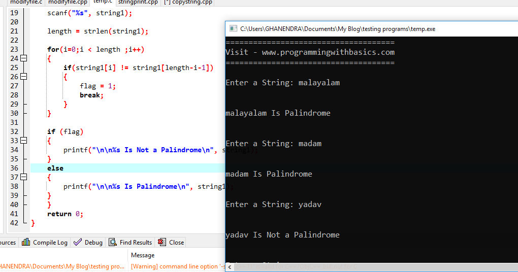 C Program To Check String Is A Palindrome Or Not
