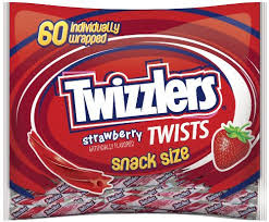 snack sized strawberry flavored Twizzlers for Halloween