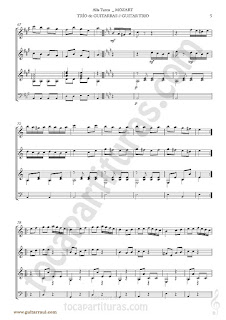 5  Marcha Turca Partitura de Trio de Guitarra y guitarra bajo Guitar Sheet Music for three guitars