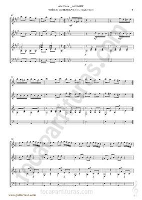 5  Marcha Turca Partitura de Trio de Guitarra y guitarra bajo Guitar Sheet Music for three guitars