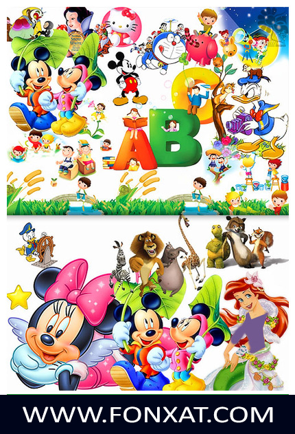 Download PSD various cartoon characters, Cinderella, Mickey Mouse, Hello Kitty