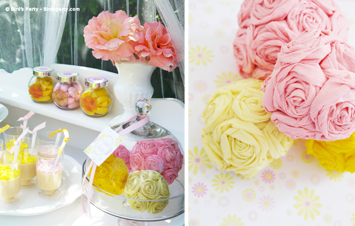 a pink and yellow bridal shower with free party printables birdspartycom