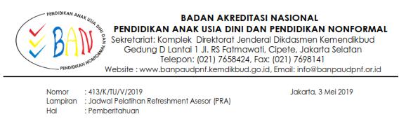 Jadwal Pelatihan Refreshment Asesor (PRA) BAN PAUD dan PNF Tahun 2019