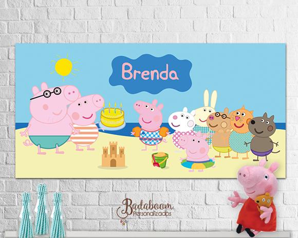 arte, digital, Peppa Pig, Peppa Pig Praia, Painel, festa infantil, banner, praia, Família Peppa Pig