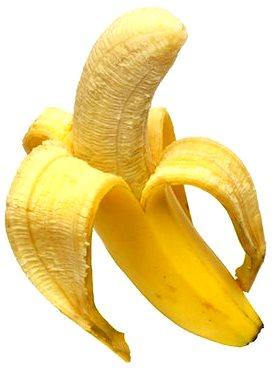 Foto de una banana de seda a medio pelar
