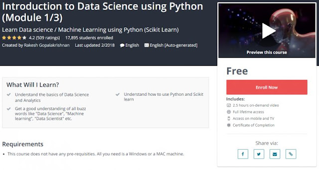 [100% Free] Introduction to Data Science using Python (Module 1/3)