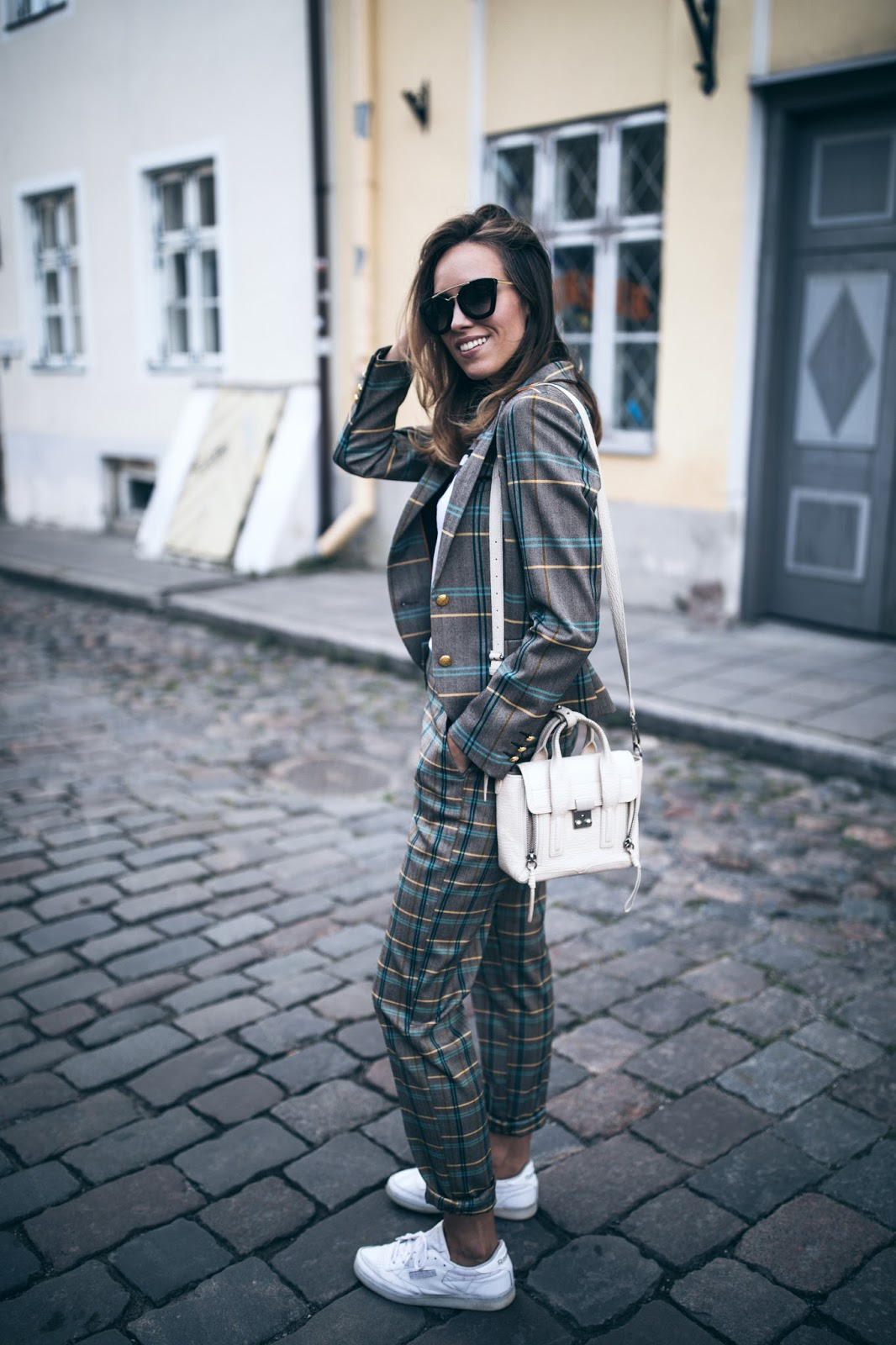 checked suit sneakers outfit