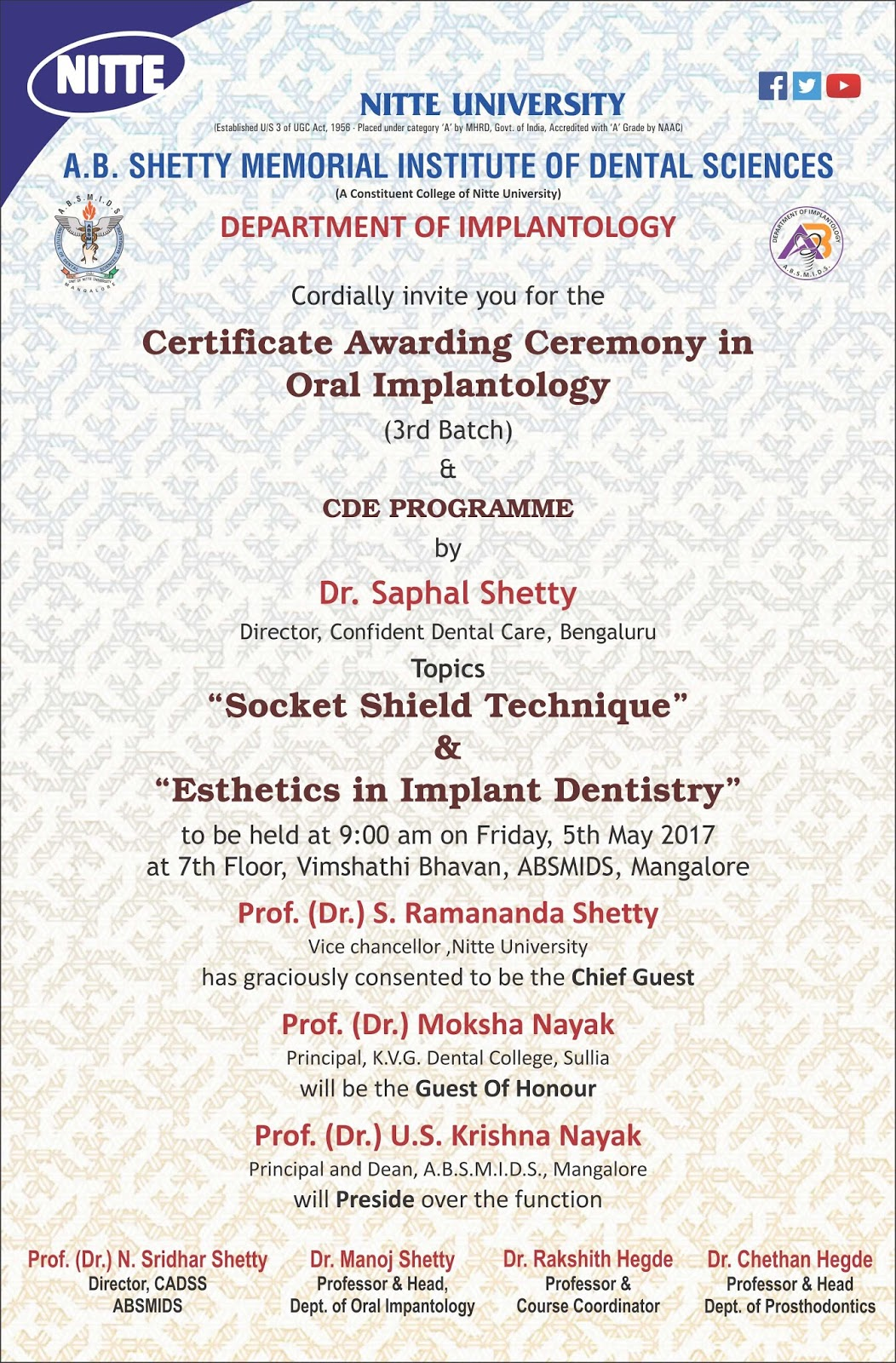 Certificate Awarding Ceremony In Oral Implantology And Cde Program