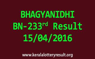 BHAGYANIDHI BN 233 Lottery Result 15-4-2016
