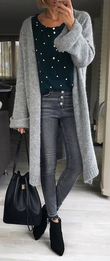 cozy winter outfit / grey cardi + shirt + bag + skinnies + boots
