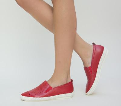pantofi casual dama tip espadrila din piele naturala