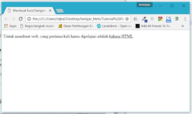 membuat huruf bergaris bawah di html