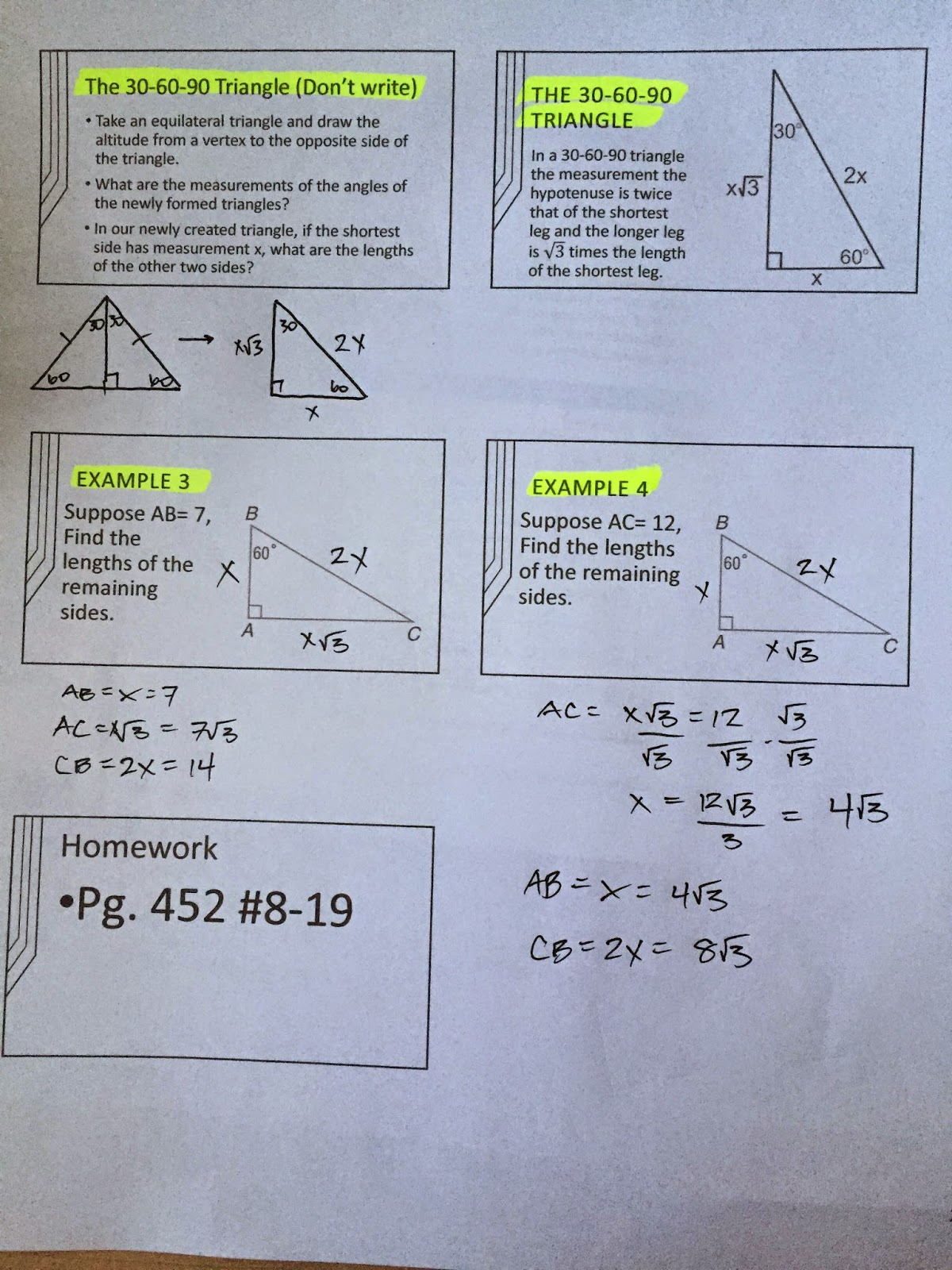 Honors Geometry - Vintage High School: Section 8-3 ...