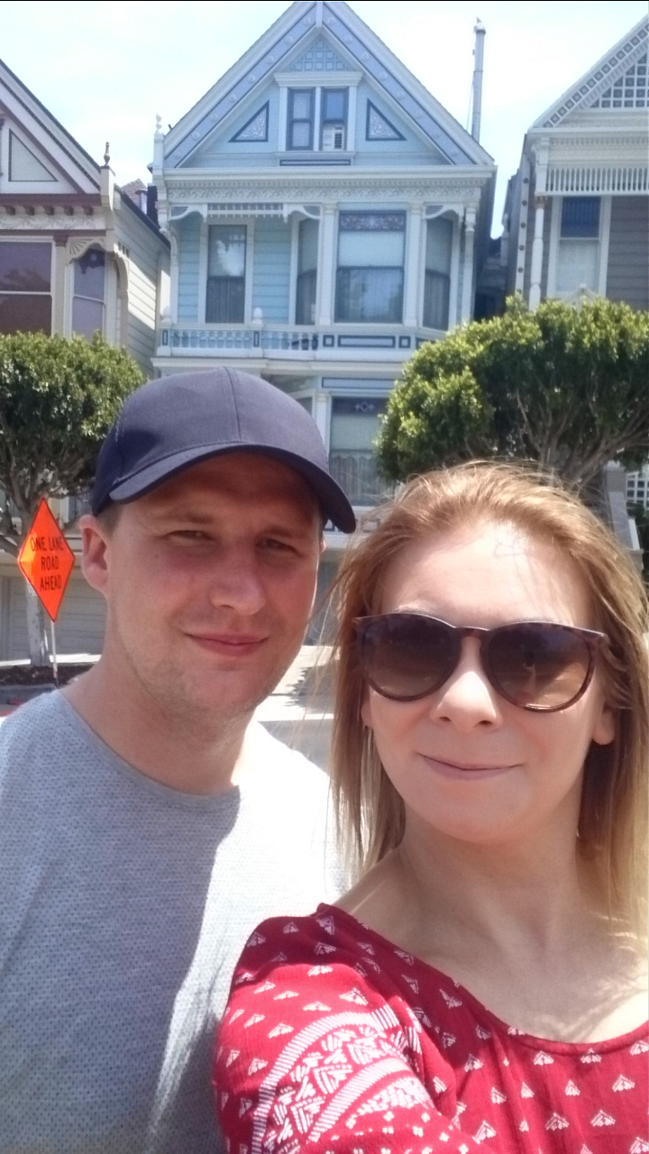 Me & Adam in front of the Painted Ladies Victorian Houses Alamo Square San Francisco