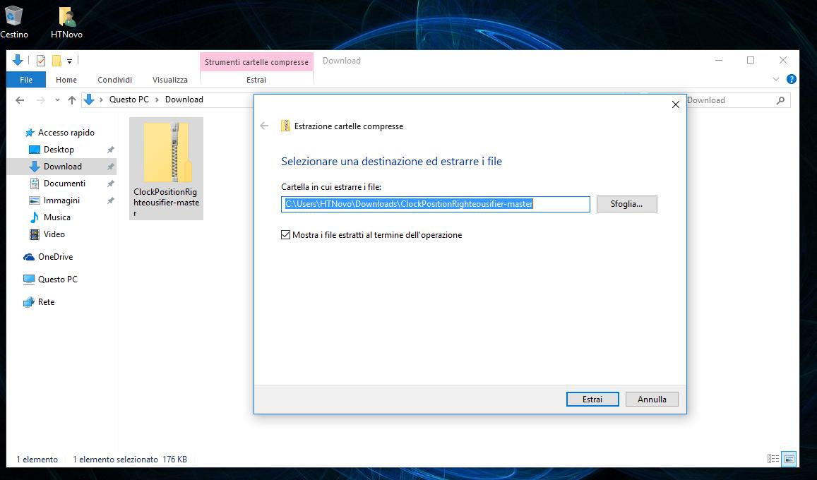 Come riposizionare l'orologio alla fine della Taskbar in Windows 10 AU 3 HTNovo